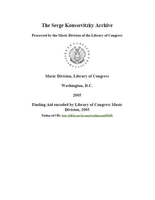 Serge Koussevitzky archive,