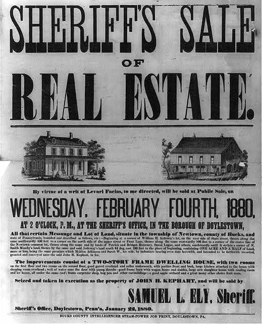 Sheriff's sale of real estate. By virtue of a writ of Levari Facias, to me directed, will be sold at Public Sale, on Wednesday, February Fourth, 1880... seized and taken in execution as the property of John H. Kephart, and will be sold by Samuel L. Ely, Sheriff