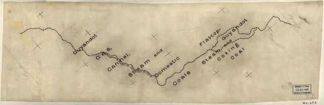 "[Sketch of the ""proposed route of Virginias Railway"" to Flat-top and Guyandot coal fields, West Virginia]."