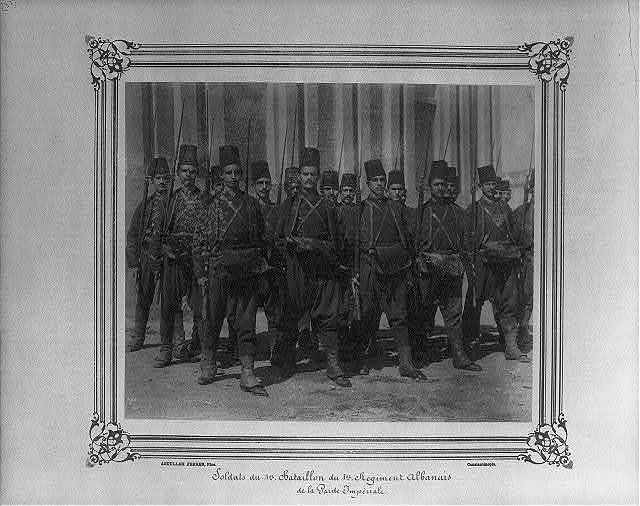 [Soldiers of the First Battalion of the First Albanian Regiment of the Imperial Guard] / Abdullah Frères, Phot., Constantinople.