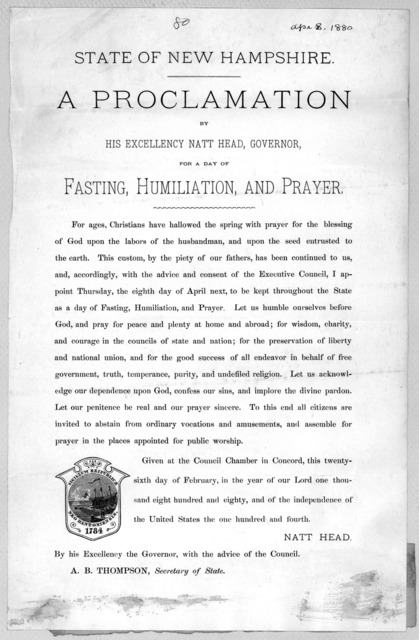 State of New Hampshire. A proclamation by His Excellency Natt Head, Governor, for a day of fasting, humiliation, and prayer ... Given at the Council Chamber in Concord, this twenty-sixth day of February, in the year of our Lord one thousand eigh