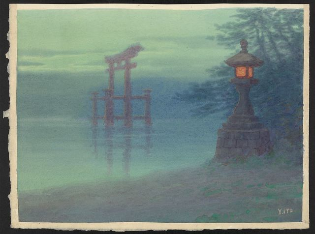 [Stone lantern on shore and a torii in a lake] / Y. Ito.