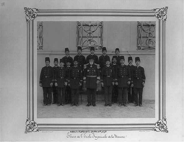 [Tayyar Paşa, the Commander and Principal of the Imperial Naval Academy and some of the students of the Navy section] / Constantinople, Abdullah Frères.