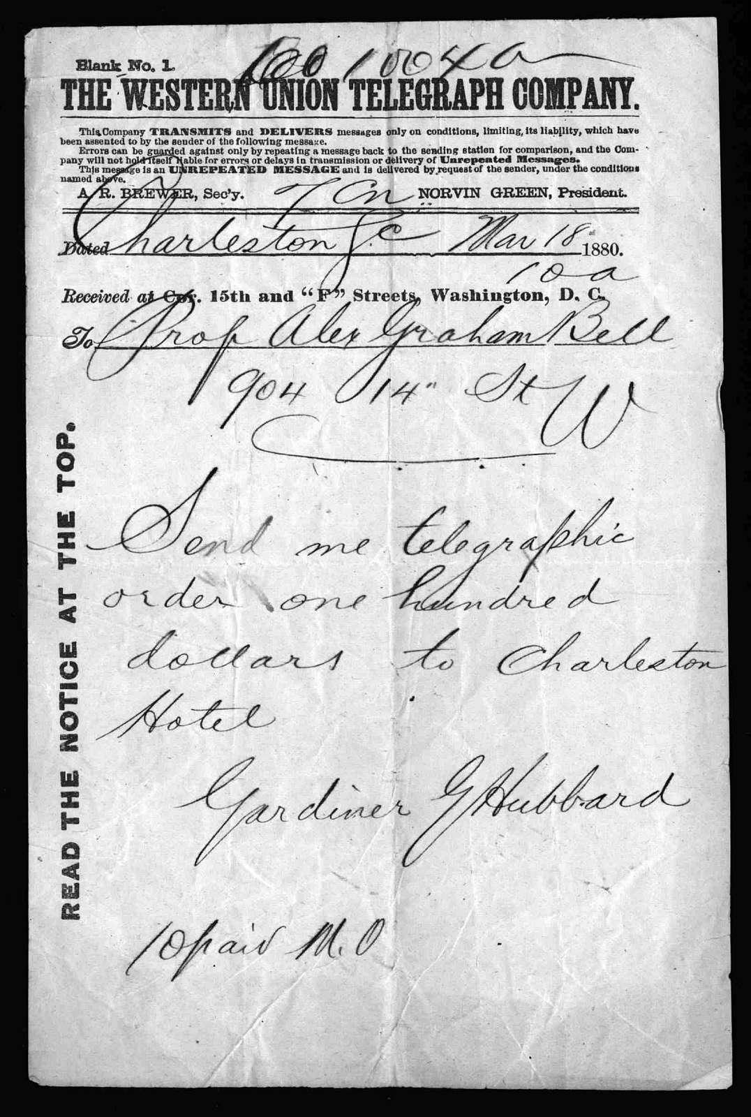 Telegram from Gardiner Greene Hubbard to Alexander Graham Bell, March 18, 1880