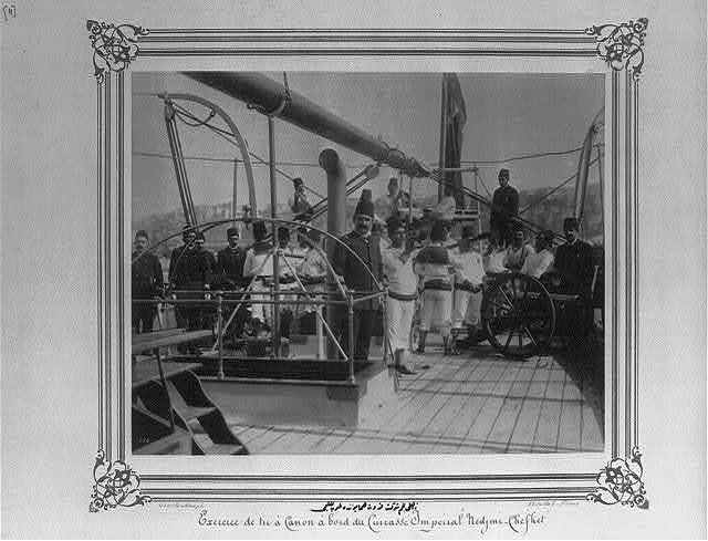 [The artillery practice aboard the Imperial Ironclad Corvette, Necm-i Şevket] / Constantinople, Abdullah Frères.