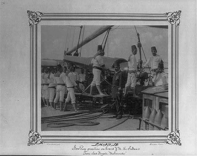 [The cannon drill on the Imperial Ironclad Frigate Mahmudiye] / Constantinople, Abdullah Frères.
