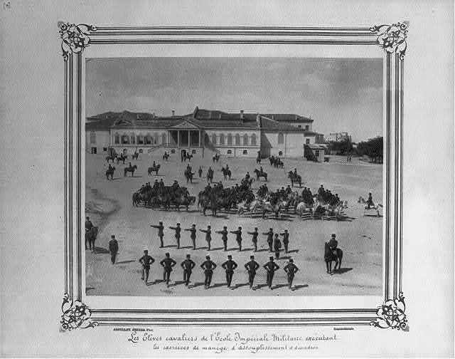 [The cavalry students of the Imperial Military Academy doing riding school and limbering up drills, and the squadron] / Abdullah Frères, Phot., Constantinople.