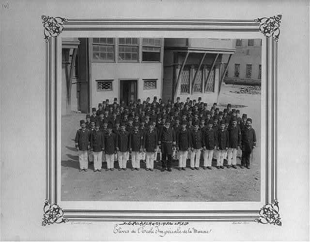 [The Commander of the Imperial Naval Academy, Tayyar Paşa and the students of the Merchant Marine Academy] / Constantinople, Abdullah Frères.