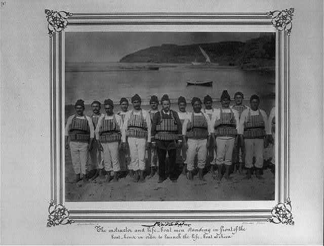 [The crew and the teacher of the lifeboat, Riva] / Constantinople, Abdullah Frères.