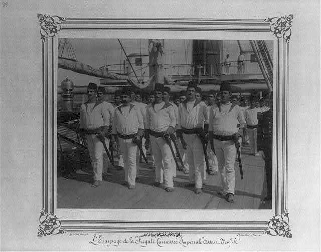 [The crew of the Imperial Ironclad Frigate Asar-i Tevfik] / Constantinople, Abdullah Frères.