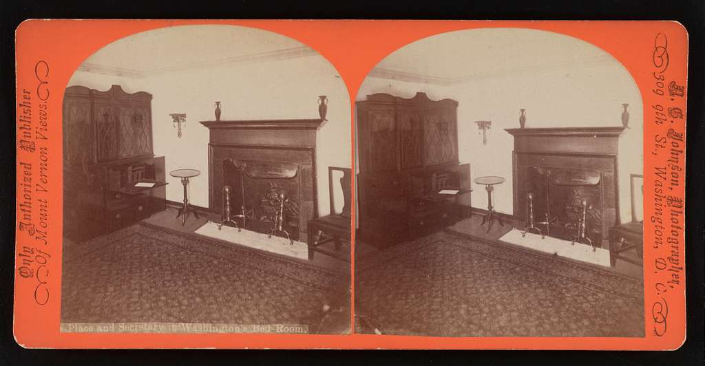 The fireplace in Washington's bed room where he died and the old mahoghany secretary used by him