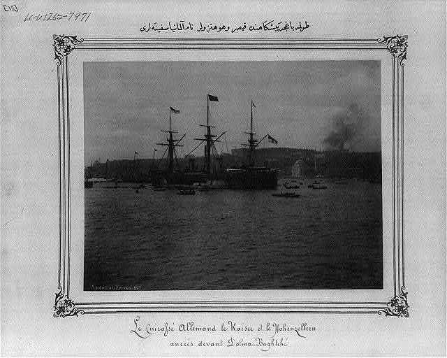 "[The German ships ""Kaiser"" and ""Hohenzollern"" in front of the Dolmabahçe Sarayı (palace)] / Abdullah Frères."