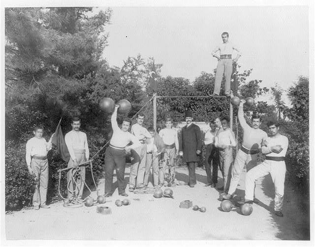 [The gymnastic exercises of the students of Mekteb-i Sultani] / Abdullah Frères, Phot., Constantinople.