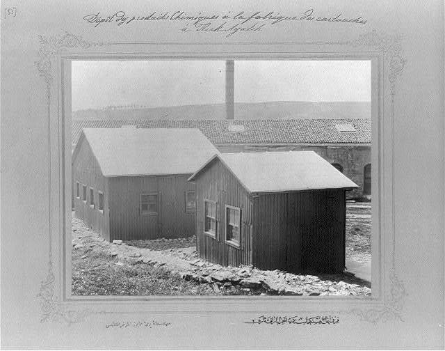 [The huts where chemicals are kept at the cartridge factory in Kırkağaç] / the photograph studio of the Imperial School of Engineering.