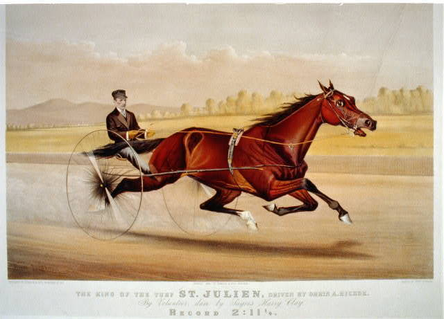 The king of the turf St. Julien, driven by Orrin A. Hickok: by Volunteer, dam by Sayre's Harry Clay