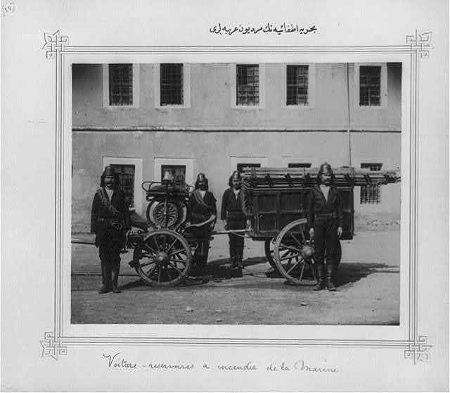 [The ladder wagons of the Naval Fire Brigade]