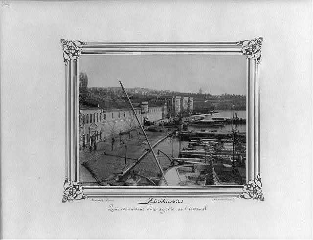 [The Mahzenlerönü Quay at the Imperial Naval Arsenal] / Abdullah Frères, Constantinople.