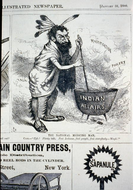 "The national medicine man [caricature of Carl Schurz, dressed as an Indian, stirring pot ""Indian affairs"" and saying, ""Ugh! Plenty talk. Fool people, fool Indians, fool everybody - wagh!""]"