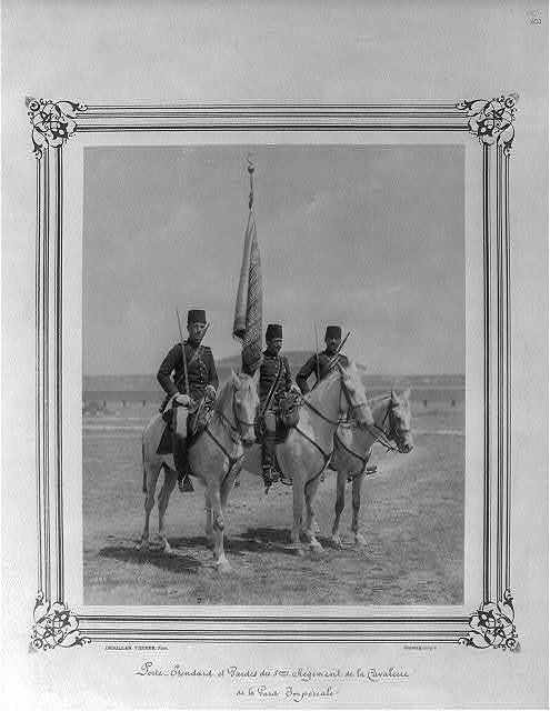 [The Standard Bearer and Guards of the Fifth Cavalry Regiment of the Imperial Guard] / Abdullah Frères, Phot., Constantinople.