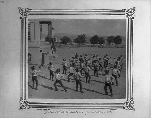 [The students at the Imperial Military Academy doing a sword drill] / Abdullah Frères, Phot., Constantinople.