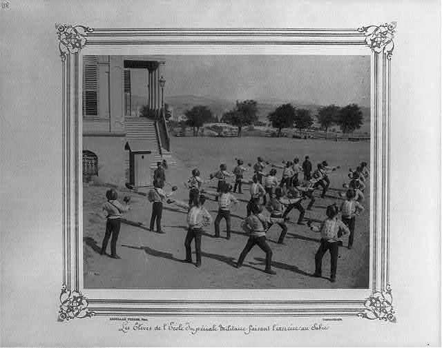 [The students at the Imperial Military Academy doing sword drill] / Abdullah Frères, Phot., Constantinople.