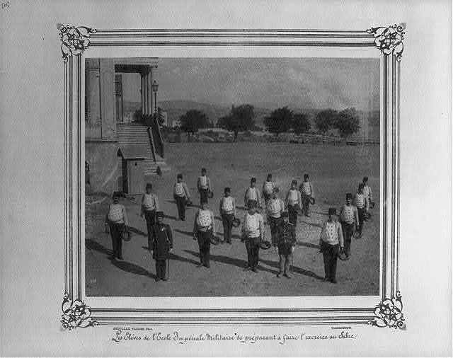 [The students at the Imperial Military Academy preparing for a sword drill] / Abdullah Frères, Phot., Constantinople.