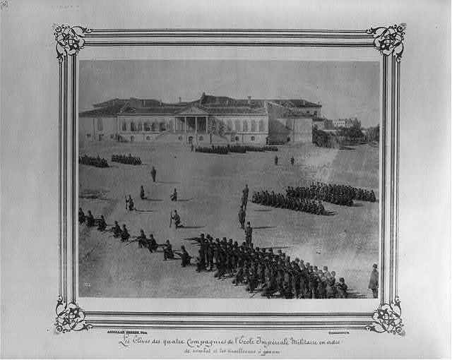 [The students of four companies at the Imperial Military Academy in order of battle, with sharpshooters kneeling] / Abdullah Frères, Phot., Constantinople.
