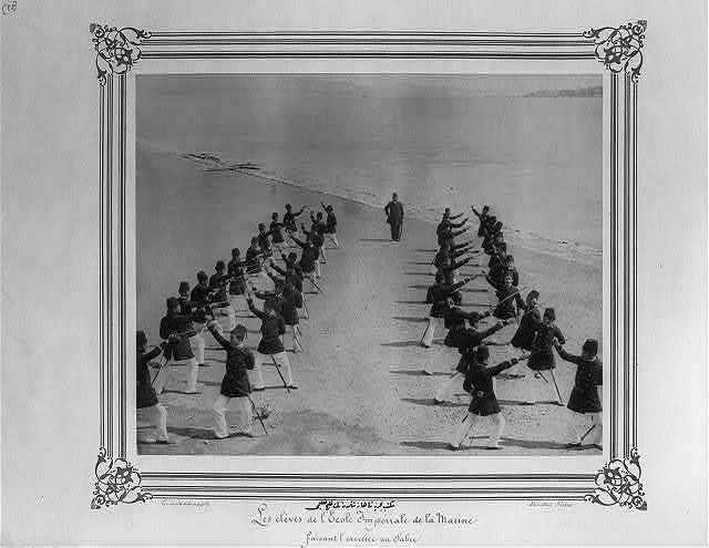 [The students of the Navy class in the Imperial Naval Academy exercising with swords] / Constantinople, Abdullah Frères.