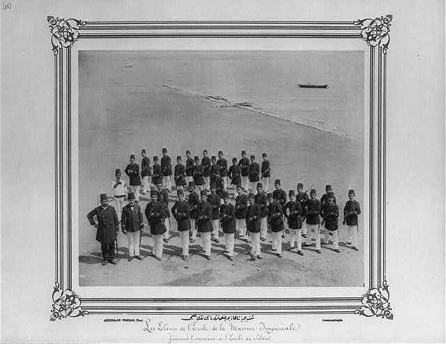 [The students of the Navy class in the Imperial Naval Academy exercising with rifles] / Abdullah Frères, Phot., Constantinople.