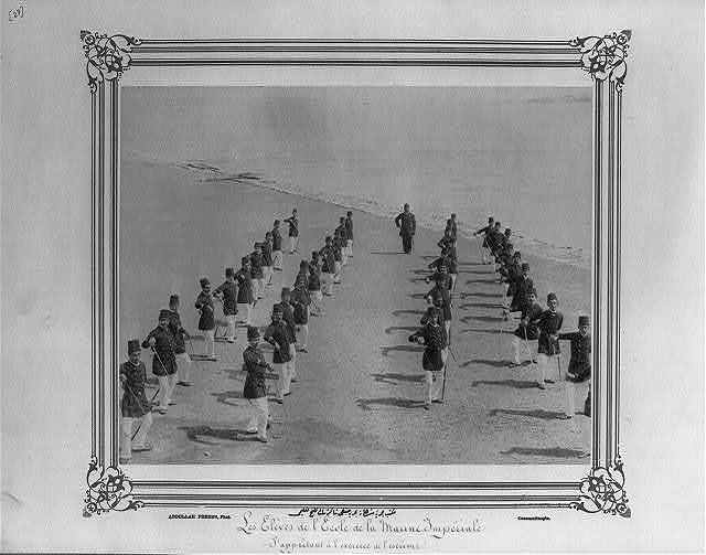 [The students of the Navy class in the Imperial Naval Academy exercising with swords] / Abdullah Frères, Phot., Constantinople.