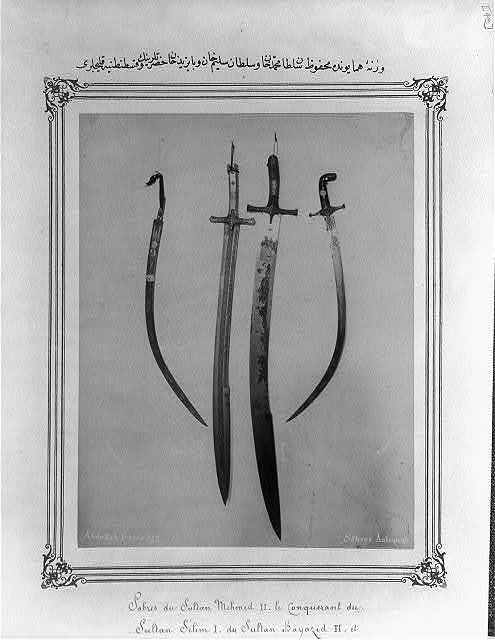 [The swords of Sultan Mehmed (II), Sultan Selim (I), Bayezid (II), and Constantine kept in the Imperial Treasury] / Abdullah Frères.