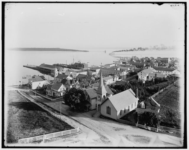 The Town from the fort, Mackinac Island