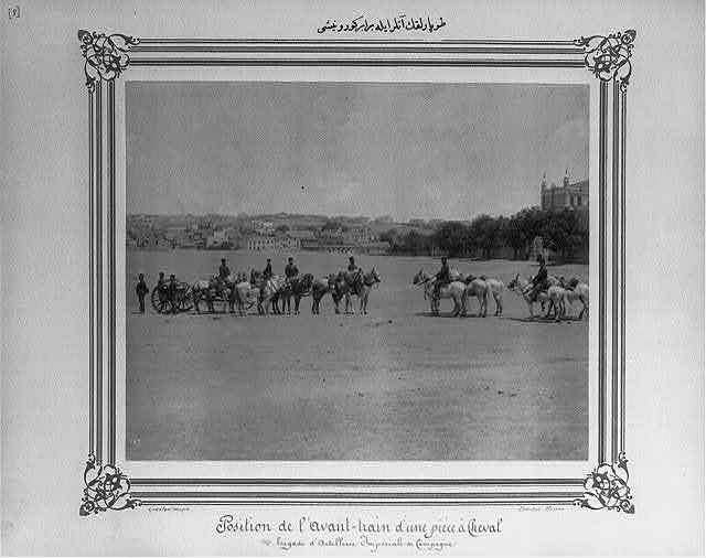 [The view of a limber (two-wheeled vehicle) with the horses] / Constantinople, Abdullah Frères.