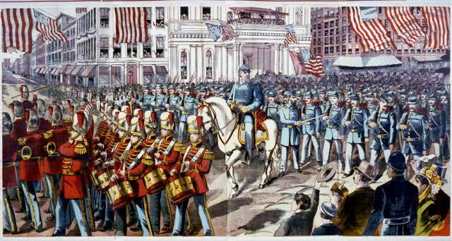 [Union soldiers and band marching through a city street on their way to join the Civil War]