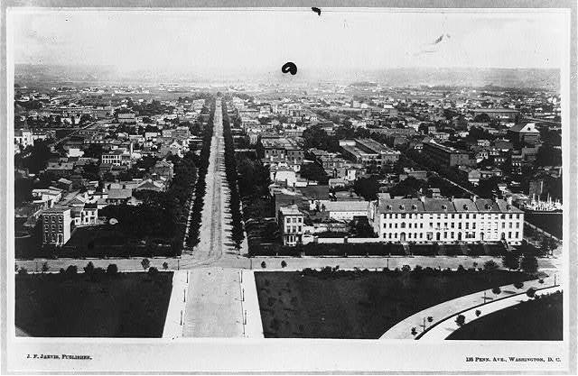 [View down East Capitol Street from the U.S. Capitol, Washington, D.C., with Carroll Row on the right]