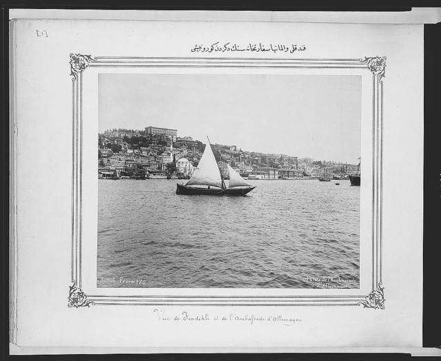 [View from the sea of the German embassy and Fındıklı] / [A]bdullah Frères.