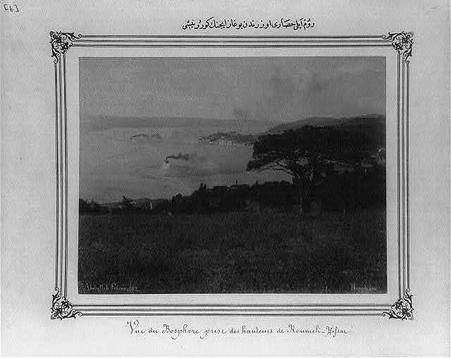 [View of the Bosporus from above Rumeli Hisarı (fortress)] / Abdullah Frères.