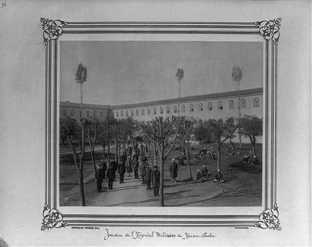 [View of the garden of the Military Hospital at Haydarpaşa] / Abdullah Frères, Phot., Constantinople.