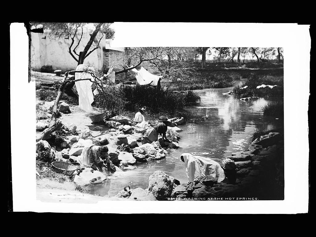Washing at the hot springs