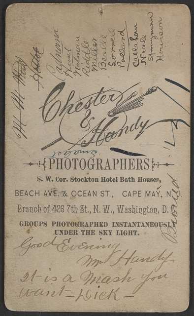 Welcome the dude / Chester & Handy, photographers, S.W. Cor. Stockton Hotel Bath Houses, Beach Ave. & Ocean St., Cape May, N.J., branch of 426 7th St., N.W., Washington, D.C.