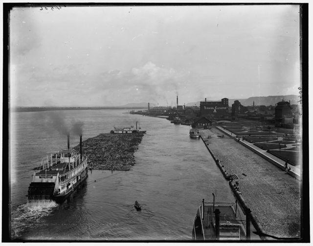 Winona, raft passing below draw bridge