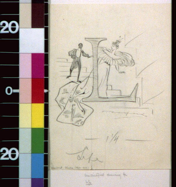 [Woman in oversize dress and man on stairs and letter L]