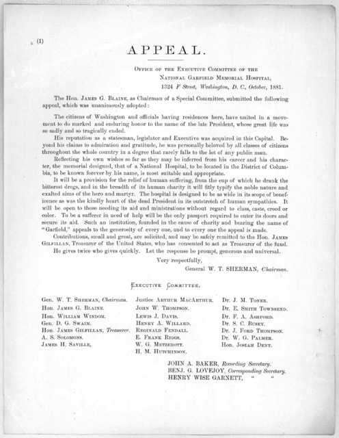 Appeal ... The Hon. James G. Blaine, as Chairman of a Special committee, submitted the following appeal which was unanimously adopted ... Washington, D. C. October 1881.