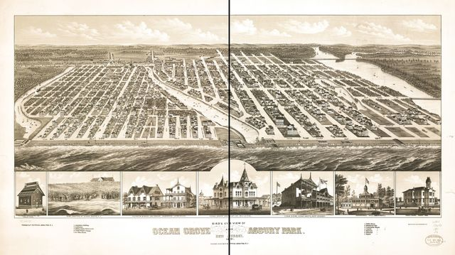 Bird's eye view of Ocean Grove and Asbury Park, New Jersey 1881.