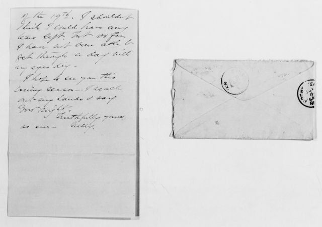 Clara Barton Papers: General Correspondence, 1838-1912; Boynton, Henry V. and Nellie M., 1881-1902, undated