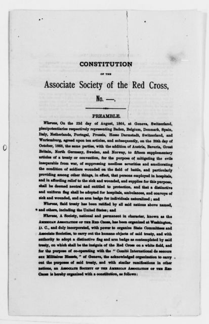 Clara Barton Papers: Red Cross File, 1863-1957; American National Red Cross, 1878-1957; Incorporation; Constitution, 1881-1903, undated