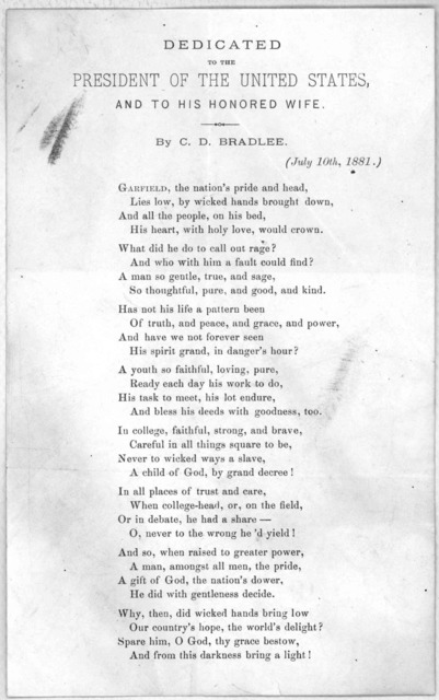 Dedicated to the president of the United States. and to his honored wife by C. D. Bradlee (July 10th, 1881).