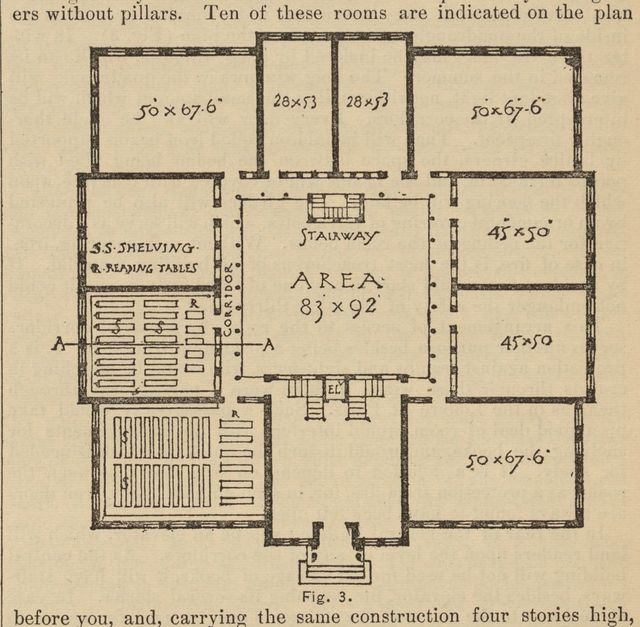[Floor plan for the proper storage of books in a library]