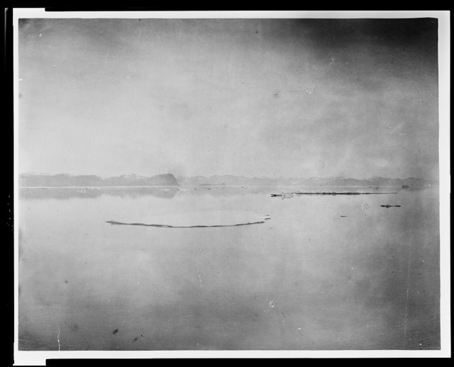 General view to the north from point in Kane's Sea about 12 miles east of Victoria Head -- Washington Irving Island in centre of Lake Hazen