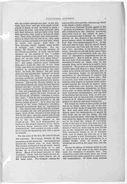 Hamilton association. Inaugural address of J. Macdonald, Esq. M. D. President. Delivered November 17, 1881.